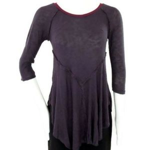 Free People Gray Burgundy 3/4 Sleeve Knit Top XS